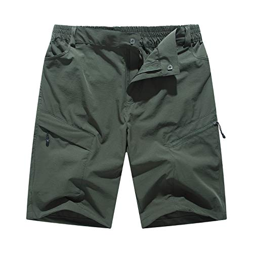 YSENTO Men's Sport Shorts Breathable Lightweight Camping Climbing Mountain Cargo Shorts Zipper Pockets(Size 32, Army Green)