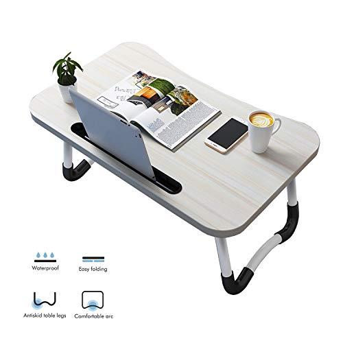 Vasen Laptoptisch Lapdesk Laptop Ständer Betttablet Klappbare Betttisch mit Beinen als Frühstückstisch Pflegetisch für Bett und Sofa (Weiß mit Ipadschlitz)