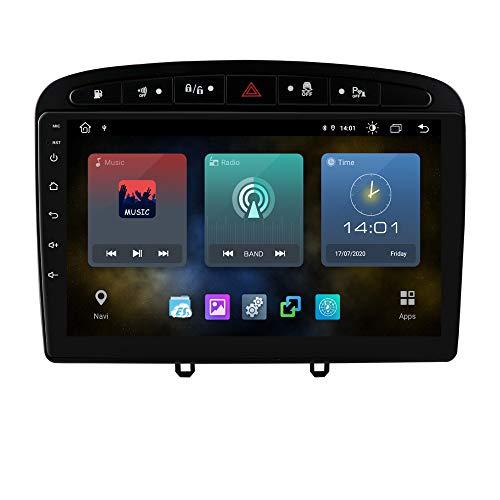 Ossuret Android 10 Car Radio estéreo con Pantalla táctil de 9 Pulgadas 1080P Compatible con Peugeot 308 308S 408 2012-2020 Soporte de Control del Volante WiFi y cámara Trasera 4G
