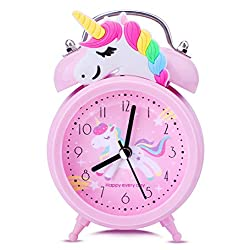 Unicorn Alarm Clock for Girls Kids, Cute Bedroom Decoration, Non Ticking Silent Second Hand, w/Backlight Super Loud Twin Bell, for Kids Unicorn Gifts (Pink)