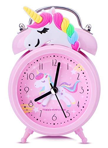 Despertadores de Unicornio para Niñas,Despertadores de Campana Doble Vintage Sin Tictac,Relojes de Mesa de Noche Rosa con Luz de Fondo para el Dormitorio de los Niños
