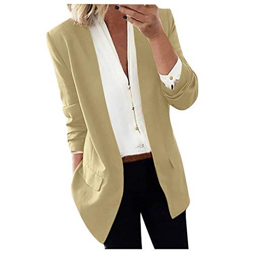 Huacat Damen Elegant Langarm Blazer Sakko Einfarbig Slim Fit Revers Geschäft Büro Jacke Kurz Mantel Anzüge mit Tasche