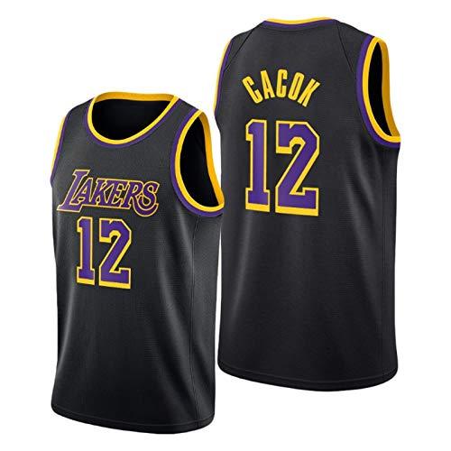 YPKL Devontae Cacok Jersey, 2021 Nueva Temporada Negro Mamba Lakers 12 # Maillots de baloncesto, unisex sin mangas, ropa deportiva de entrenamiento (S-XXL) S