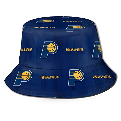 Indiana Logo Pacers Unisex Women's Men's Fisherman Hat Wide Brim Bucket Cap Sun UV Protection for Travel Sports Fishing Black