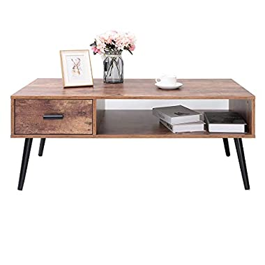 IWELL Mid-Century Coffee Table with 1 Drawer and Storage Shelf for Living Room, Cocktail Table, TV Table, Rectangular Sofa Table, Office Table, Solid Elegant Functional Table, Easy Assembly CFZ004F