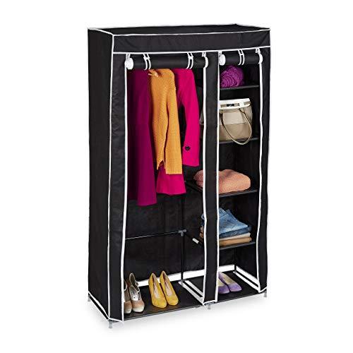 Relaxdays Stoffschrank, mit Kleiderstange & 5 Fächern, HBT: 174 x 107 x 42,5 cm, stabiler Faltschrank mit Bezug, schwarz