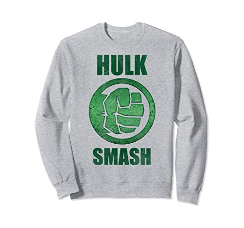 Marvel Hulk Smash Fist Circle Logo Green Stone Poster Sweatshirt