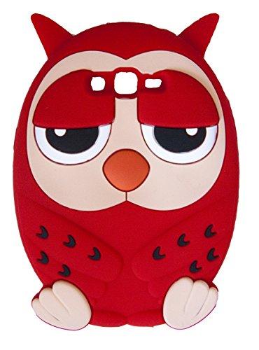 SKS Distribution® Rojo Silicona Tiempo Noche Hora de Dormir soñoliento Silicona búho Owl Funda/Carcasa/Cover para Samsung Galaxy Grand Prime