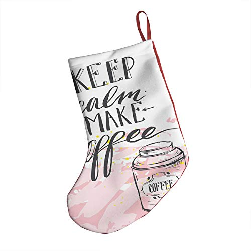 GULTMEE Christmas Socks,Artistic Design with Sweet Strokes Cup and Make Coffee Calligraphy,Hanging Socks Bag for Christmas Tree Decoration Window Decoration