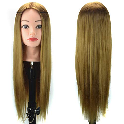 Beauty Tête à coiffurer Formation Mannequin Têtes d'exercice a coiffer 60cm Cheveux Synthétique Long Naturel Tête À Coiffer Coiffure Femme Mannequin Sunenjoy