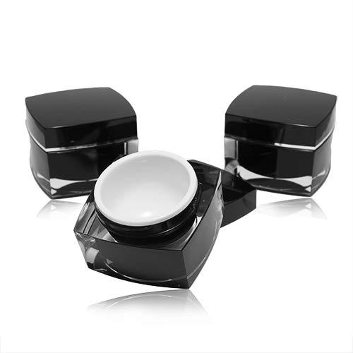 Un ensemble lucratif de conteneurs vides avec un couvercle pour remplir de gel, couleur noir, plastique, à double - 3x40g