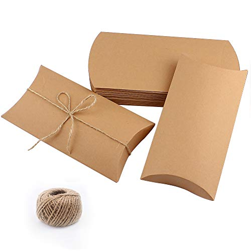 CEWOR 50pcs 6.3×3.7 Inches Kraft Pillow Box with 100 Feet Jute Twines, Large Size Candy Favor Paper Boxes for Wedding Party