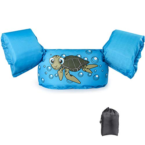 JEVDES Schwimmflügel Schwimmweste mit Schultergurt für Kinder Kleinkinder von 2-7 Jahre 15-30kg Schwimmen Lernen Schwimmhilfe mit verschiedenen Designs für Jungen und Mädchen (Schildkröte)