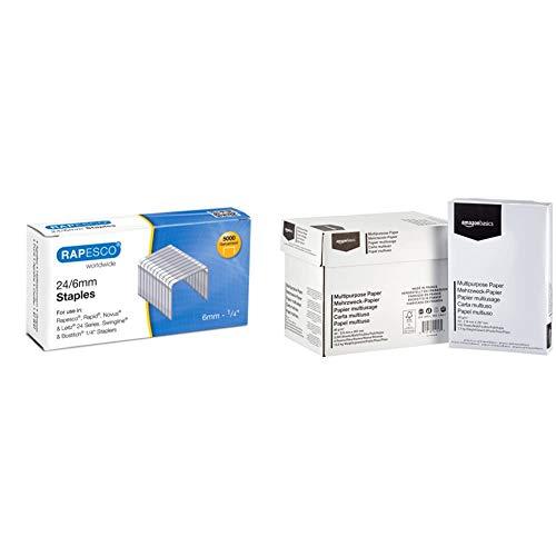 Rapesco Grapas - Caja de 5000 grapas 24/6mm (22/6), uso habitual en la mayoria de grapadoras + Amazon Basics Papel multiusos para impresora A4 80gsm, 5x500 hojas, blanco