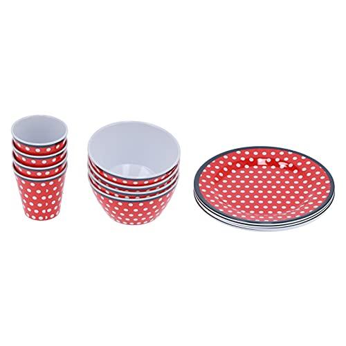 12 Unids/set Juego de Vajilla para el Hogar Plato de Taza de Melamina de Punto Rojo para Restaurante Cocina en Casa
