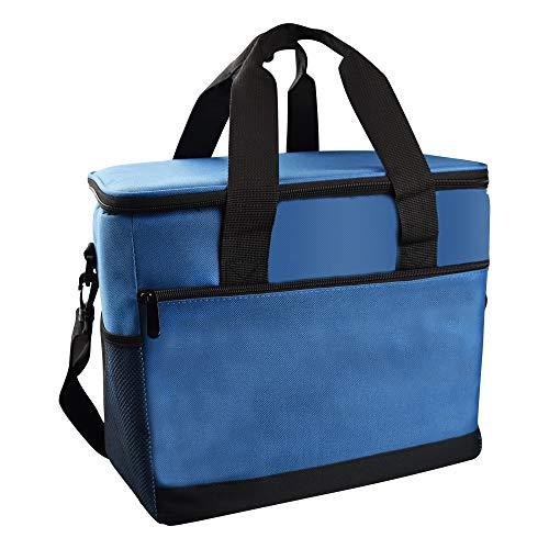 LYTIVAGEN Bolsa Térmica 30L Bolsa Isotermica de Almuerzo con Mango Bolsa Refrigeradora Aislada Correa de Hombro Ajustable para Acampar al Aire Libre BBQ Travel (Azul)