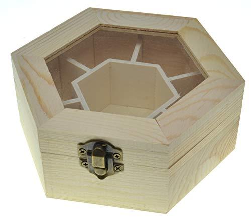JB5 Hexaganol Caja de joyería Con tapa de cristal Cofre del tesoro...
