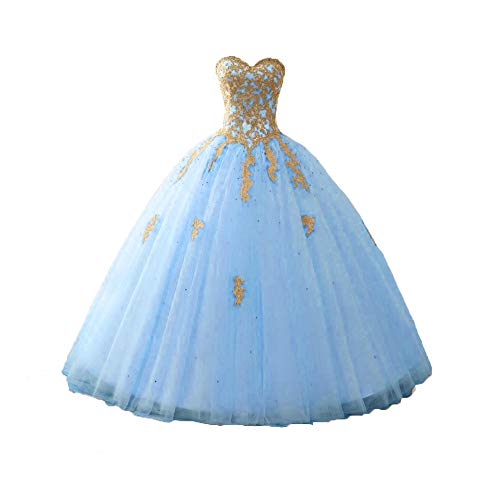 Happy Lemon Gold Lace Quinceanera Dresses Appliques Beaded Ball Gown Sweet Strapless HL164