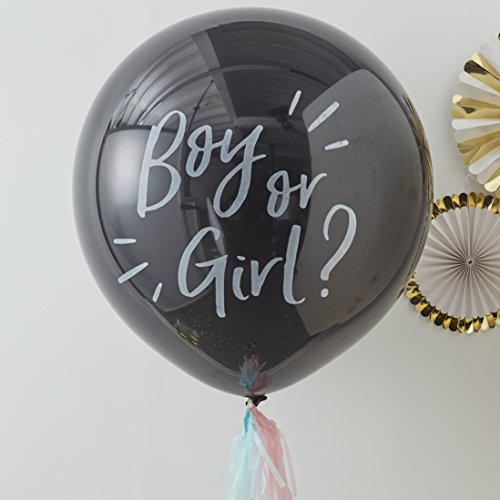 Ginger Ray Boy or Girl Giant Gender Reveal Baby Shower Confetti Balloon Decoration 36 Inch, Black