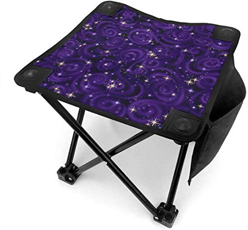 liang4268 Stargazers Star Texture Violet Metallic Folding Camping Stool Lightweight Chairs Portable Seat for Adults Fishing Hiking Gardening and Beach with Carry Bag