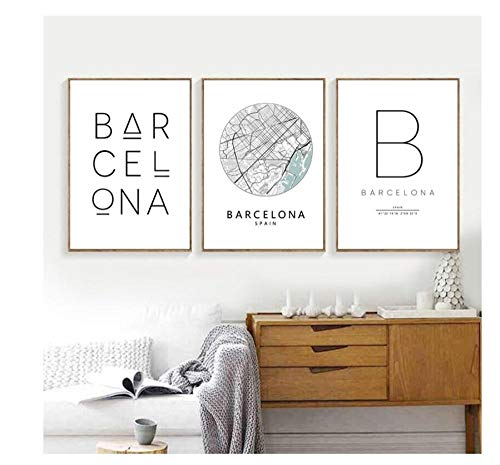 Zhaoyangeng Imprimir Mapa De La Ciudad Cartel Barcelona Tipografía Arte Moderno De La Pared Pintura De La Lona Imprimir Decoración Nórdica Española En Casa- 50X70Cmx3 Piezas Sin Marco