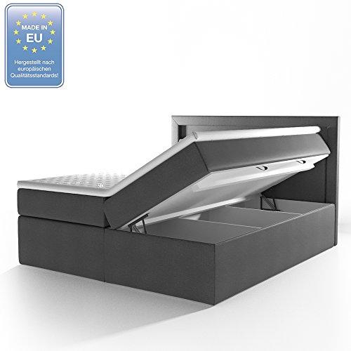 OSKAR Design Boxspringbett LED Bettkasten Bonnell-Ferderkernmatratze Komfortschaum-Topper Doppelbett Bett Hotelbett Ehebett 180x200 cm anthrazit