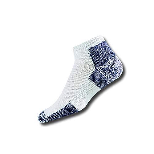 Thorlos Unisex Thick Padded Running Low Cut Sock- White Navy- Large