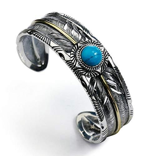 Herren Feather Open Armreif mit Türkis Indianer Breite Feder Silber Ethnic Armlet Vintage Armmanschette