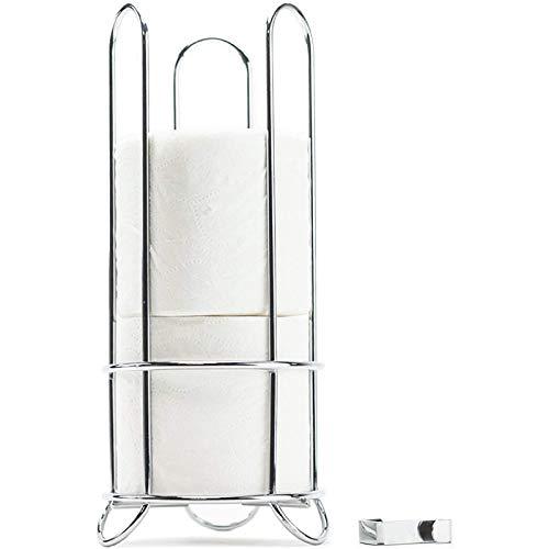 Huji Chrome Finish Modern Design Toilet Paper Roll Bathroom Holder Rack Storage Canister Space Saver...