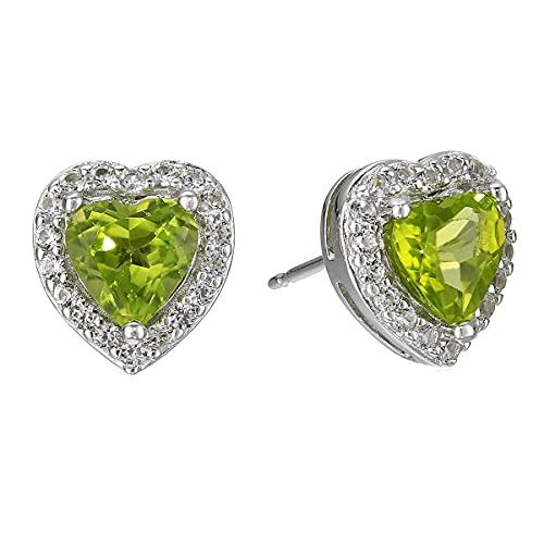 CaratYogi plata de ley 925 plata de ley corazón Green Peridoto natural
