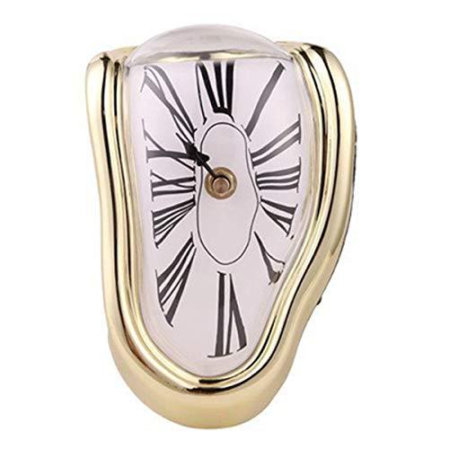FAMKIT Derritiendo Reloj Mesa Estante Escritorio Moda Reloj Divertido Oficina en Casa Escritorios Reloj en Forma de L Dorado