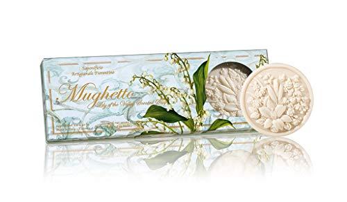 Mughetto sapone, Confezione 3 saponette rotonde, lavorazione artigianale, scolpiti con fiori, 3x125g
