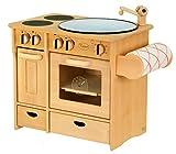 Unbekannt Massive Kombiküche / Kinderküche mit Herd + Spülbecken + Handtuchhalter / Material: Erle / Maß: 51 x 35 x 46 cm / Gewicht: 7,6 kg