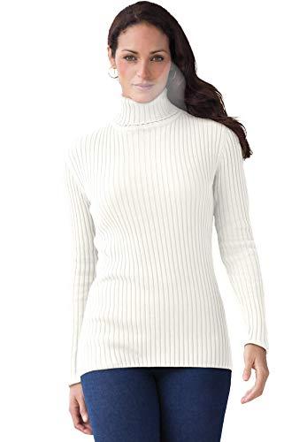 Jessica London Women's Plus Size Ribbed Cotton Turtleneck Sweater 100% Cotton - 22/24, Ivory White