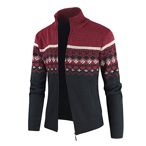 MENHG Men's Knit Cardigan Thick Sweater Full Zip Stand Collar Warm Jumper Fleece Lined Winter Coat Men Long Sleeve Color Block Stripe Patchwork Slim Fit Blouse Top Outwear Pullover Sweatshirt Jacket