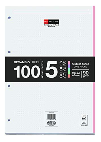 Miquelrius Bloc Recambio Hojas Sueltas - 5 Franjas de Colores Pastel, 100 Hojas de Puntitos Dots, Tamaño A4, Papel 90 g, con 4 Taladros