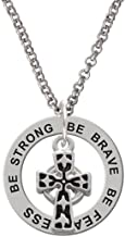 Silvertone Antiqued Celtic Cross - Be Strong Brave Fearless Affirmation Ring Necklace