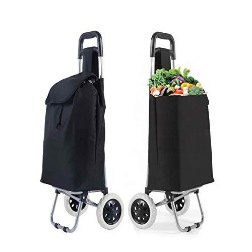 RELAX4LIFE Einkaufstrolley mit Rollen, Einkaufswagen, Einkaufsroller 32,8L, Einkaufstasche, Shopping Trolley, Oxford-Tuch, 35 x 28 x 90 cm, Schwarz