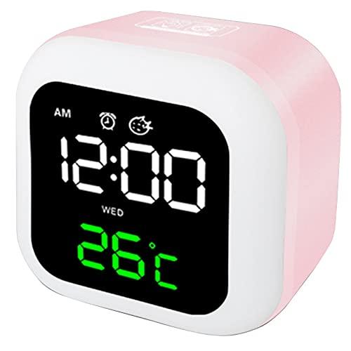 HBWH Reloj despertador, reloj despertador digital, bonito reloj de noche para niños, reloj despertador y luz nocturna (rosa)