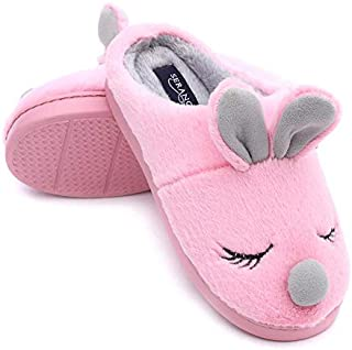 Seranoma Women's Comfortable Coral Fleece Bunny House Slippers with Anti-Slip Rubber Sole