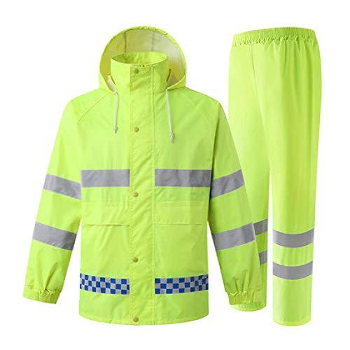 QPYJ Poncho Impermeable Chubasquero Reflectante para Adultos Conjunto de Abrigo y pantalón para Hombre Chubasquero Waterproo-Amarillo Fluorescente_XXL