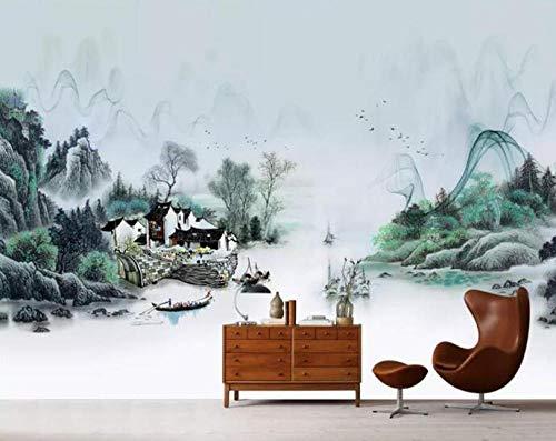 3D vliesbehang foto vlies premium fotobehang behang behang Chinese vis dorp inkt landschap schilderij tv achtergrond muur decoratie wandschilderij 3D behang 430*300 430 x 300.