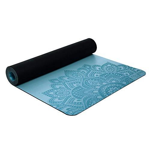 Yoga Design Lab (ヨガデザインラボ) ヨガマット 厚さ 5 mm インフィニティマット ストラップ付 滑り止め グリップ力 ピラティス トレーニング フィットネス エクササイズマット (Mandala Aqua, 5mm)