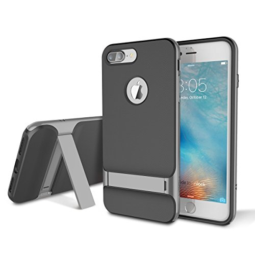 Cover for iPhone 7 case,ROCK Dual Layer Armor Hybrid Rugged Soft TPU Shell Hard PC Frame Bumper Shockproof Phone Protective Cases Covers with Kickstand for iPhone 7/iphone 8