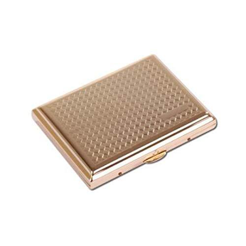 XJBHRB Cigarette Case 16 Sticks, Portable Simple Retro Cigarette Case Creative Retro Copper, Titanium Cigarette Case, Size 9.2 6.9 1.8 cm, Gold (Color : GoldB, Size : 9.26.91.8CM)