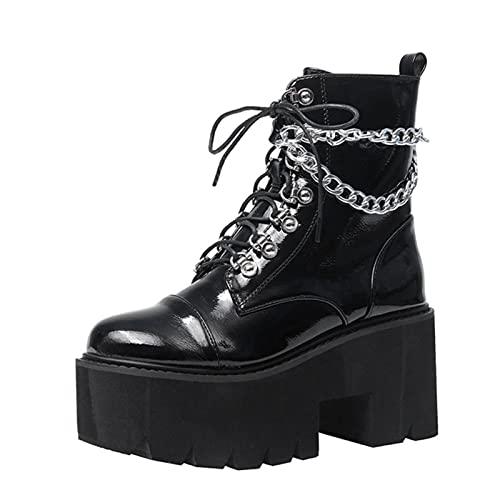 LOK Botas de Mujer Negro Punk de Charol gótico Sexy Cadena de tacón Grueso Botas de Plataforma Zapatos de Mujer Punk Botines con Cremallera