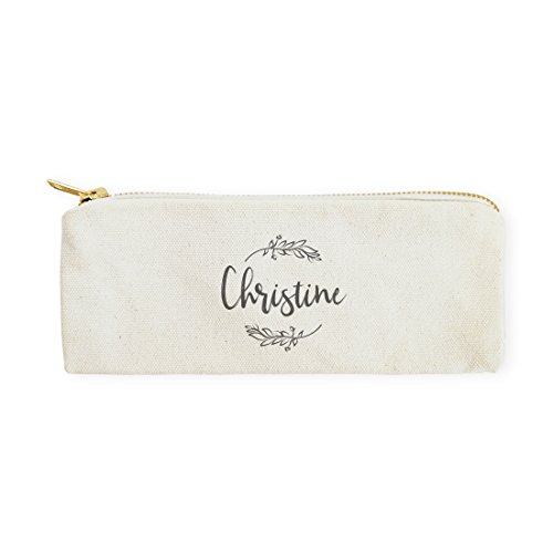 The Cotton & Canvas Co. Personalized Name with Vine Pencil Case, Cosmetic Case and Travel Pouch for Office and Back to School