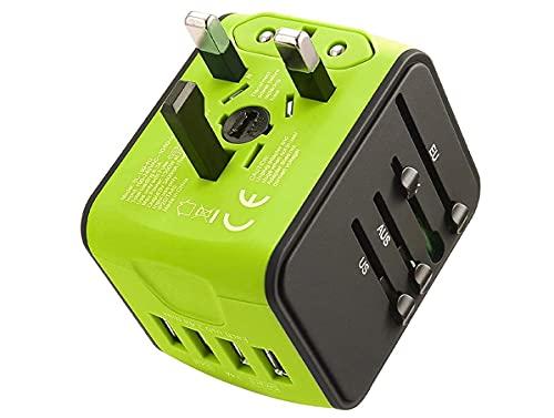 LEDLUX ESE026 Adattatore Universale da Viaggio con Presa EU UK USA aus CN con 4 Caricatore USB 5V 2,4A Max Ognuno Supporta Fino a 220V 6.3A