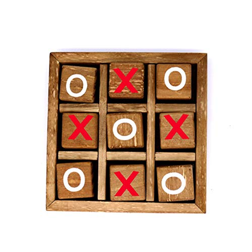 Tic-Tac-Toe-Brettspiel, Strategiespiel/Holz-Puzzle/IQ-Spiel/Holzrahmen Aus handgesteigten Holz Legespiel XO Spiel Tragbares Pädagogisches Spielzeug Für Kinder Und Erwachsene