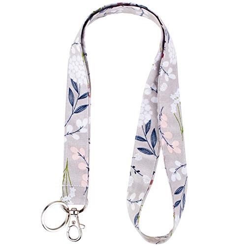 Celokiy Dandelion Lanyard Gray - Pink White Floral Cute Lanyards for Women,Teacher,Car Keys,Holder,Card,Id Badges Cruise,Wallet,Cell Phone